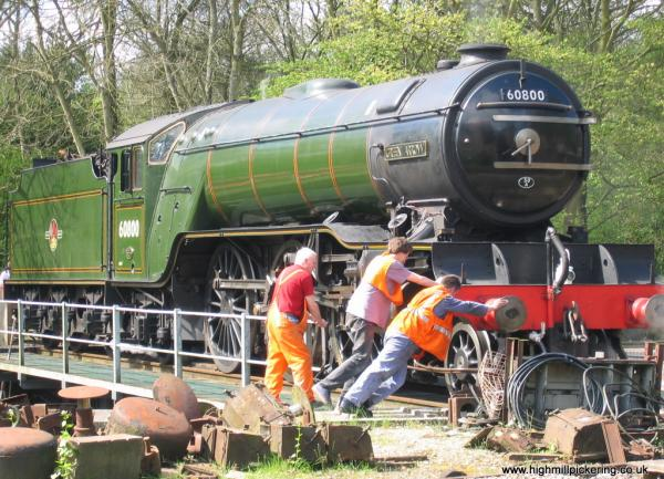 Green Arrow on NYMR turntable at High Mill Pickering. Pickering holiday cottages