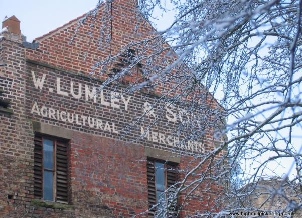 High Mill Pickering, sign on south side saying W.Lumley and sons.
