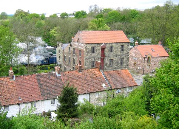 High Mill Pickering from Castle bank showing Sir Nigel Gresley